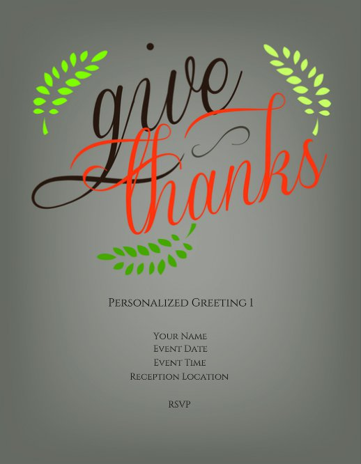 Give Thanks Thanksgiving Party Invitation